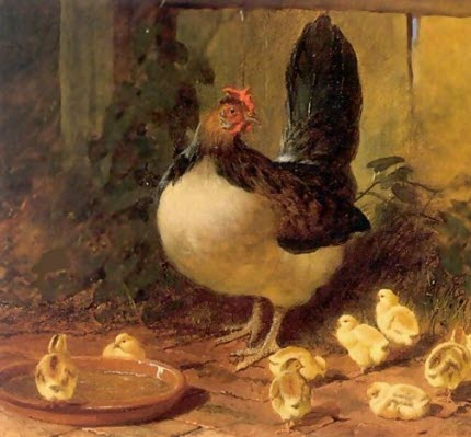 celtic_writer: Remarkable Things - The Proud Mother Hen and Chicks 1852, a painting by John Frederick Herring