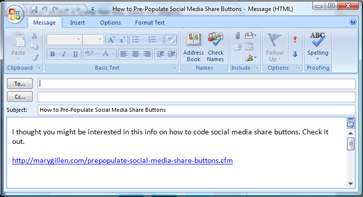 Share Code Placed in Email Message - Mary Gillen