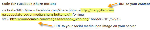 Code for Facebook Share Button -  Mary Gillen