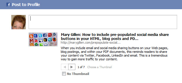 Share Code Placed in Facebook - Mary Gillen