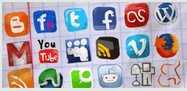 How to include pre-populated social media share buttons in your HTML, blog posts and PDF files  Hand-drawn icons by ~TheG-Force